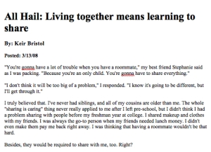 """All Hail: Living Together Means Learning To Share"""