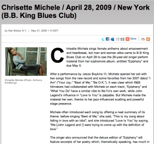 Chrisette Michele / April 28, 2009 / New York (B.B. King Blues Club)