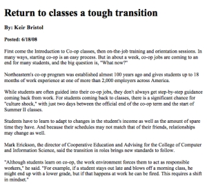 """Return To Classes A Tough Transition"""