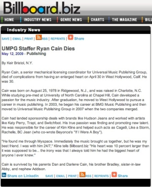UMPG Staffer Ryan Cain Dies